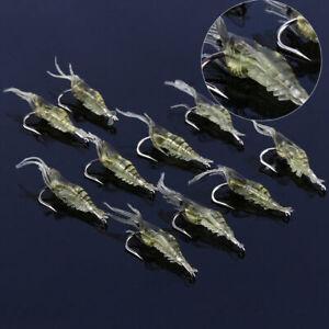 10Pcs Soft Lifelike Fishing Lures Bait Luminous Shrimp Bead 4cm Hook Bait