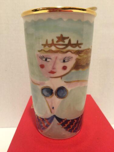 New 2014 STARBUCKS SIREN TRAVEL TUMBLER Mermaid Gift Box Dot Collection Ceramic!