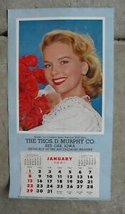 Vintage Murphy Salesman Sample 1961 Wall Calendar Litho Print Blonde Woman