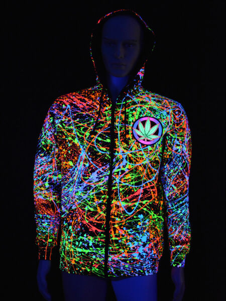 "Schwarzlicht Hoodie Neon ""Weed Lover"" Blacklight Party Festival Cannabis Bunt"