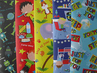 10 SHEETS OF GOOD QUAILTY ASSORTED BOYS / CHILDREN'S BIRTHDAY WRAPPING PAPER