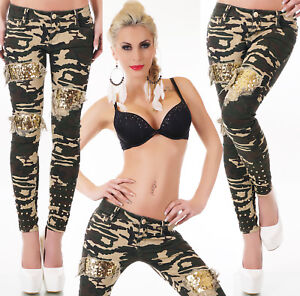 Sexy-Damen-Hueft-Hose-Jeans-Camouflage-Army-Strass-Pailletten-Gold-32-34-36-38-40