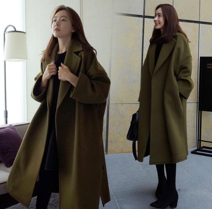 Women's Long Sleeve Lapel  Below The Knee Length Loose Wool Woolen Coat Ths01