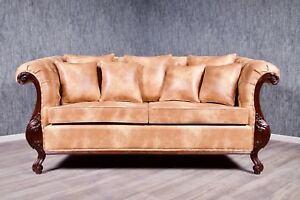 Chesterfield Sofa Couch Massiv Antik Kolonial Braun Stil