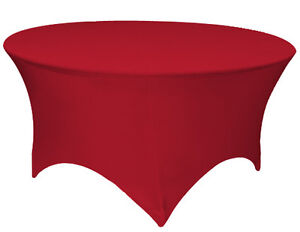 """60"""" ROUND SPANDEX Tablecloth Wedding Banquet Party Stretch Table Cover, RED"""