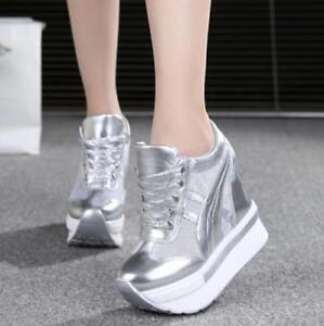 Women-039-s-Creepers-Platform-Canvas-Wedge-Sneaker-Sandals-High-Heel-Shoes-Bty15