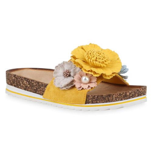 Damen Plateau Sandalen Pantoletten Blumen Korkoptik Schlappen 830261 Trendy