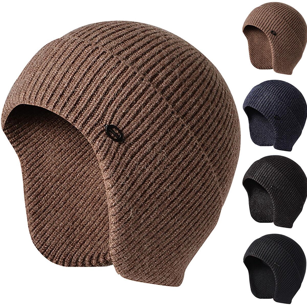 Herren Strickmütze Beanie Hüte Wintermütze Warme Wollmütze Motorrad Ski Mütze