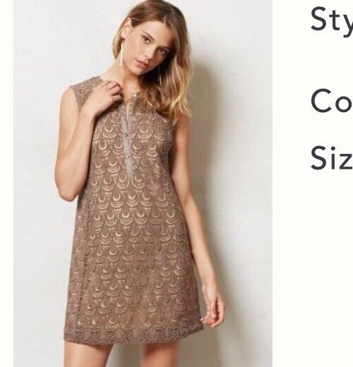 NEw Anthropologie Shimmered Lace Shift Tunic Dress Size 14