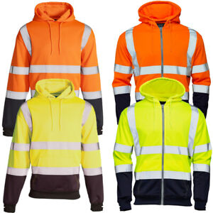 HI-VIS-VIZ-2-TONE-HOODED-SWEATSHIRT-HOODIE-REFLECTIVE-WORK-WEAR-HOODY-TOP-JACKET