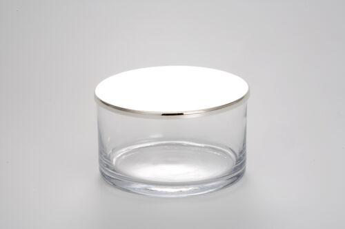 Ø 13 H 7,5 cm NEU Runde Glasdose mit versilbertem und anlaufgeschütztem Deckel