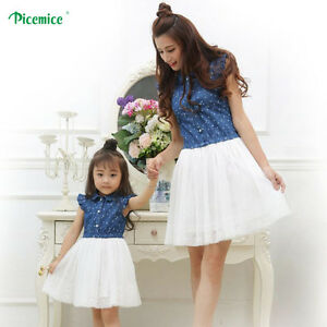 da4f636c9ee4 Image is loading New-Mother-Daughter-Dresses-2019-Summer-Family-Clothing-