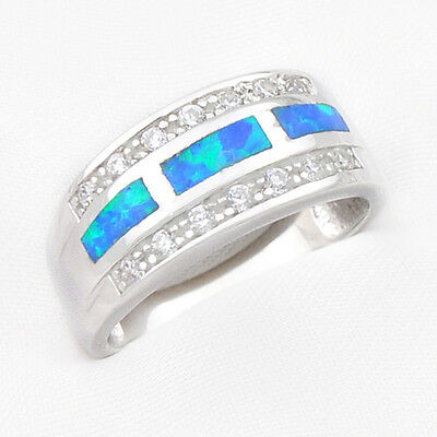 72% OFF Xmas Gift Fire Blue Opal & White Zircon 925 Sterling Silver Rings Sz 7