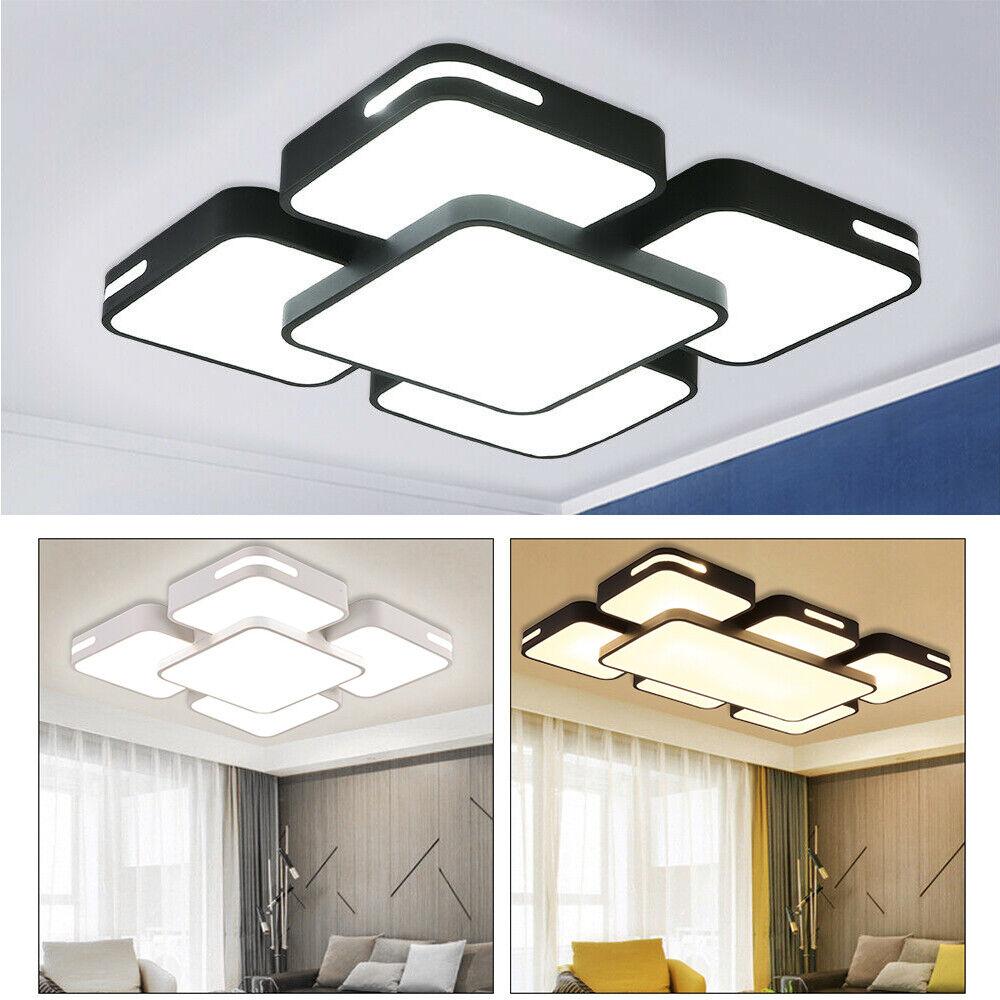 48-128W LED Deckenlampe Modern Deckenleuchte Wohnzimmer Diele Dimmbar Acryl IP44
