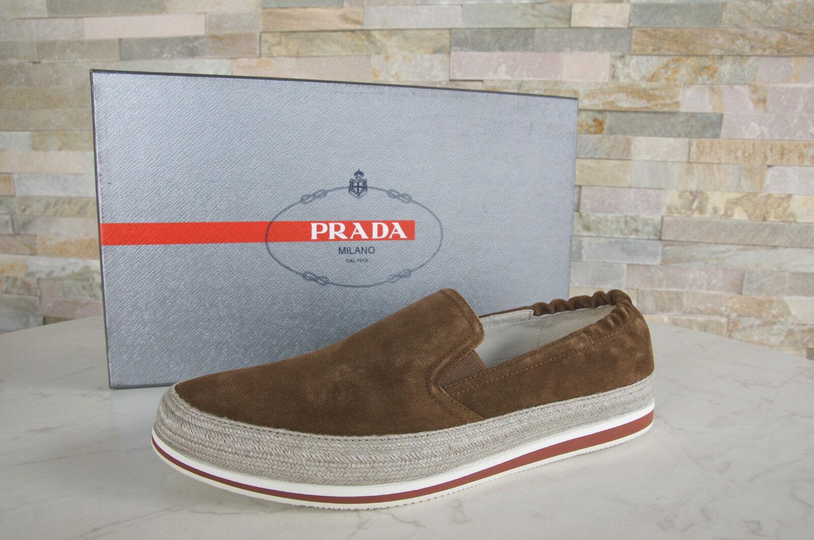 PRADA Gr 41,5  7,5 Slipper Slip-On Halbschuhe Schuhe 4D2363 zigarre NEU UVP 420