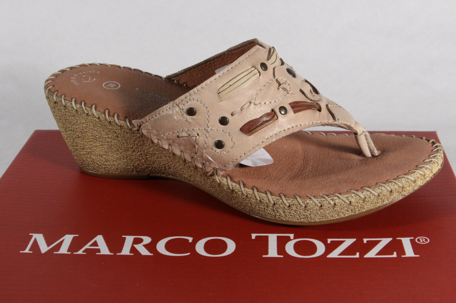 Marco Tozzi Toe Thong Mules Mules Real Leather Beige New