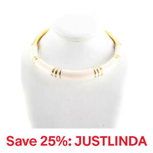 "Aurelie Bidermann Womens 12"" Choker Collar Fashion Necklace White Gold"