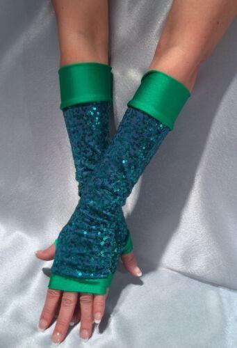 Madame Fantasy Long Sequin Fingerless Gloves Spandex Cuffs Green