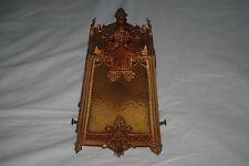 Antique Ornate Art Nouveau Metal Lamp Shade Fixture Slag Glass Panels Steampunk