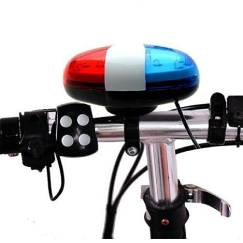 Bicycle Bike Police Car 6 LED Light 4 Sounds Trumpet Cycling Safety Horn Bell