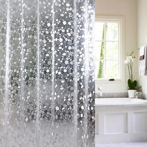 Plastic 3D Waterproof Shower Curtain Transparent White Clear Bathroom Curtain