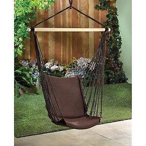Espresso Brown Cotton Padded Swing Chair 200lb Cap Ebay