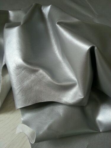 Metallic Silver Lamb Leather Nappa Skins Hides 9 sqft Fashion Craft Trimming