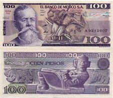 UNCIRCULATED UNC CRISP Mexico Banknote 100 Pesos bill Paper Money - Mix Year