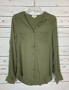 Umgee-USA-Boutique-Women-039-s-M-Medium-Green-Striped-Ruffle-Button-Top-Blouse-Shirt