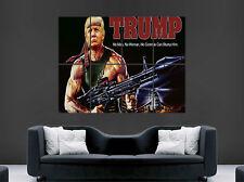 DONALD TRUMP POSTER FUNNY RAMBO FILM POSTER FUNNY GUN COMEDY PRESIDENT USA PRINT
