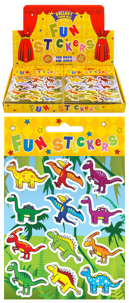 12 Sticker Sheets - ASSORTED THEMES - 12 Stickers per sheet - Kids Party Bags