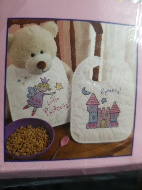 Bucilla Little Princess Sparkle Stamped Cross Stitch Bib Pair Kit 45327