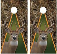 Whitetail Buck Deer Grassland Camouflage (green) Cornhole Board Decal Wrap Wraps