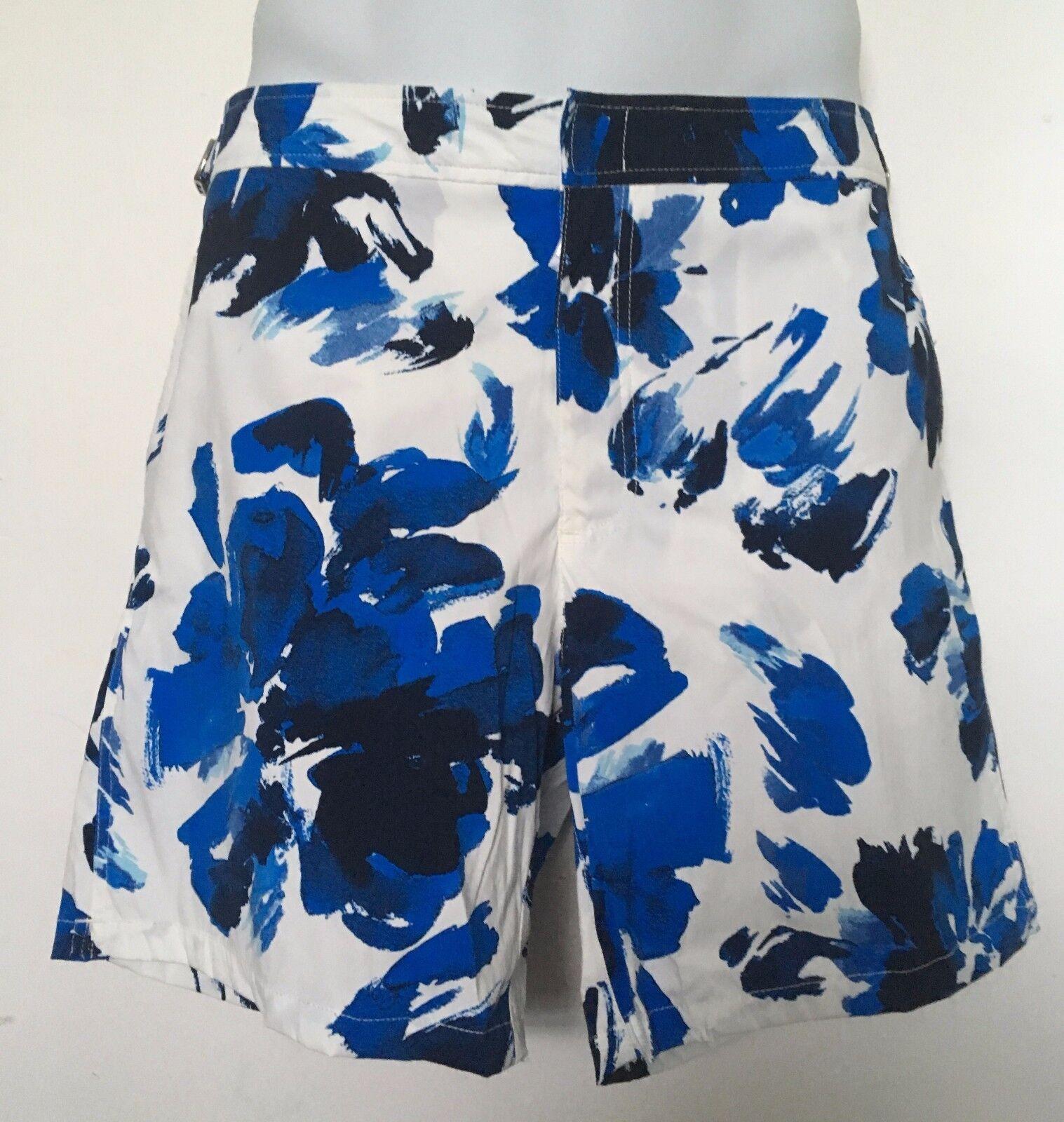 Ralph Lauren Polo Men's Swim Trunksbluee White WatercolorAdjustable 34 NWT