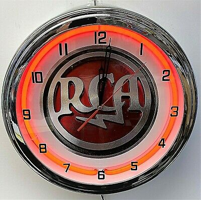 16 Rca Sign Red Neon Wall Clock Garage