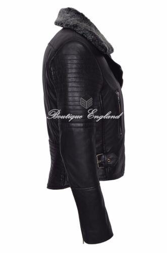 Leather Designer Style On Italian Biker Black Jacket 6108 Ladies Real New Hair wCxTq14T