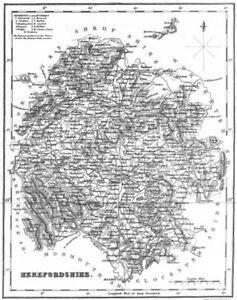 Audacieux Hereford. Herefordshire. Fullarton 1834 Old Antique Vintage Carte Plan Graphique-afficher Le Titre D'origine