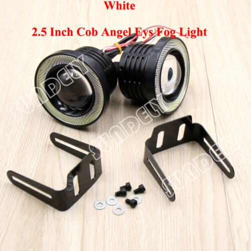 """COB 2.5/"""" Universal Projector LED Fog Lights Lamps Halo Angel Eyes Rings x2 Stock"""