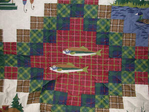 !Fly Fishing TROUT twin Quilt Lures river lake country lodge cottage cabin fish