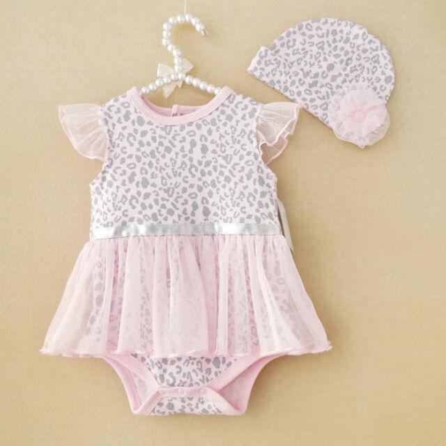 2pcs Girl Baby Kids Newborn Cap Hat+Romper Bodysuit Tutu Clothing Set 0-9M Pink