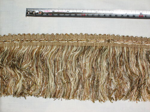 Taupe Colour Mix Braided Top `Hairy/' Fringe Furnishing Trimming Haywood Bronze