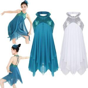 ebab7488ad50 Girls Halter Sequin Dance Dress Ballet Lyrical Costume Child ...