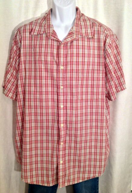 Mens CHEROKEE XXL Red Tan PLAID Checks Button Front Short Sleeves Casual SHIRT
