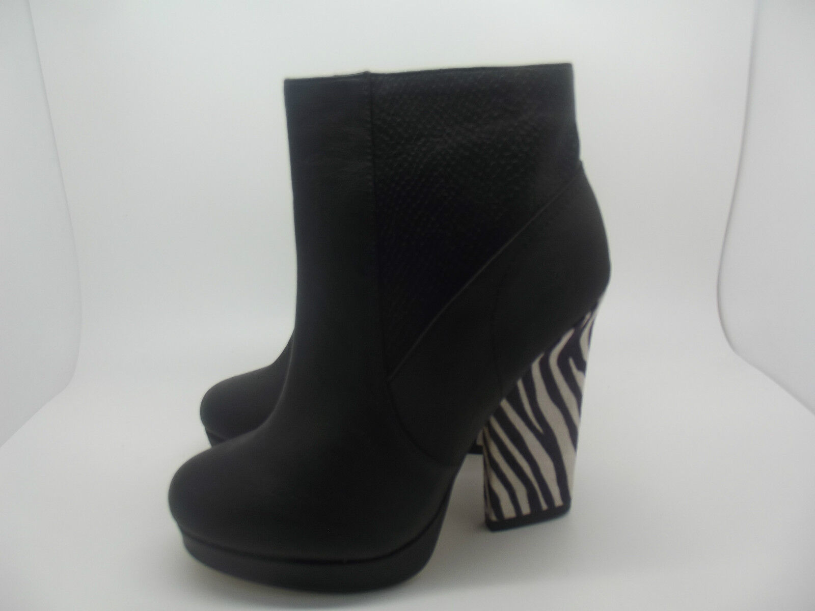 NEW LADIES GIRLS EX RIVER ISLAND POLLY BLACK / ANIMAL PLATFORM BOOTS HEELS 3 - 8