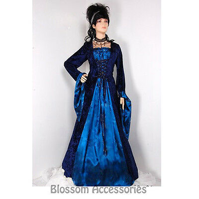 I69 Blue Long Gown Game Thrones Renaissance Medieval Queen Fancy Dress Costume