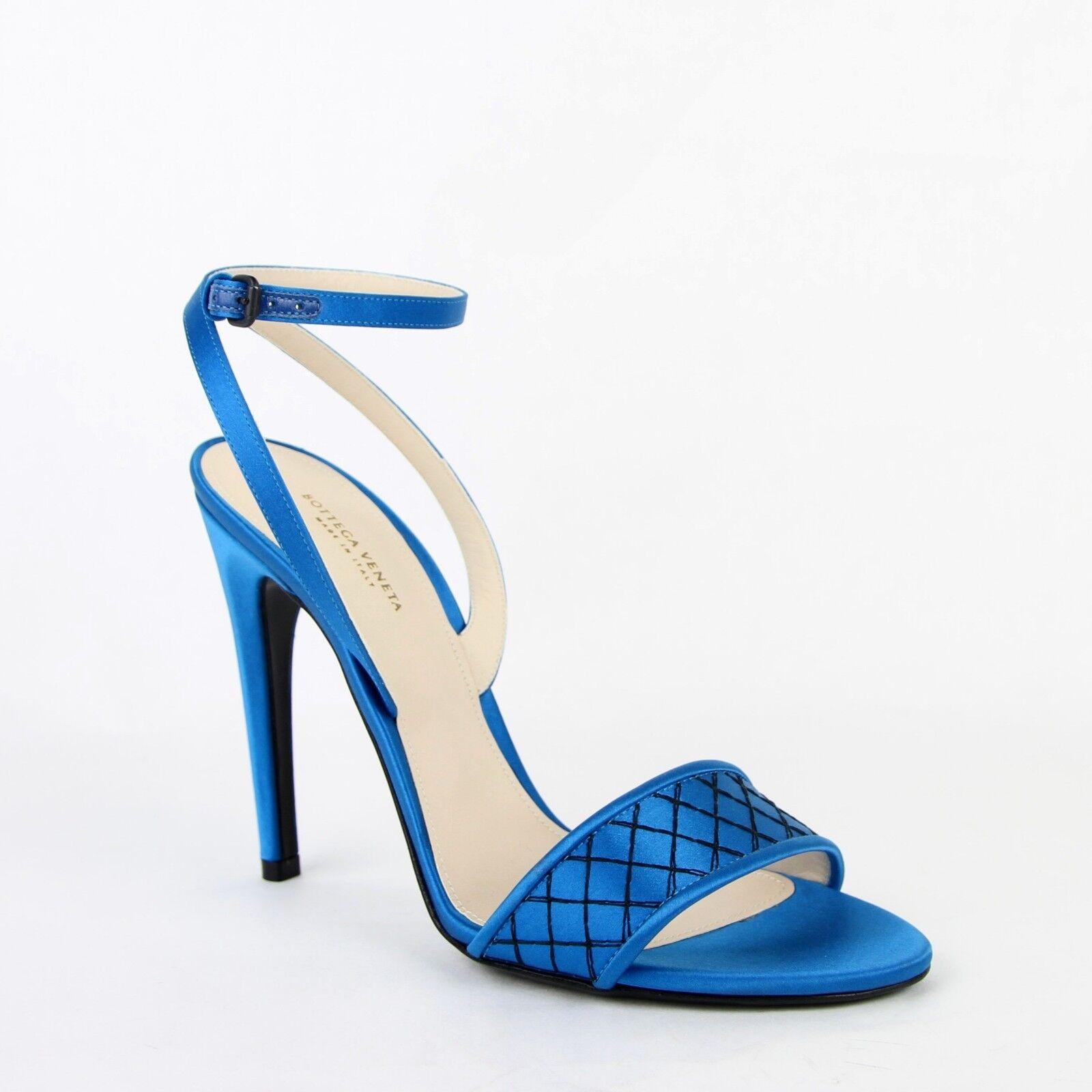 spedizione gratuita  650 New Bottega Veneta donna Teal Teal Teal Satin Ankle Strap Heels 40 US 10 428970 4321  compra meglio