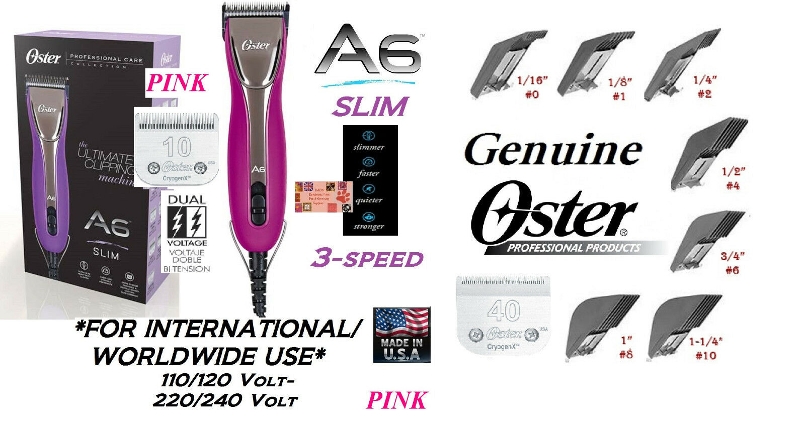 Oster A6 PINK 3-Speed ULTIMATE Clipper&Cryogen-X 10,40 Blade&7 pc Guide Comb Set