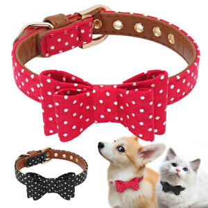 Small-Dog-Collar-Bow-Tie-Leather-Padded-for-Pet-Puppy-Cat-Chihuahua-Yorkie-S-M-L