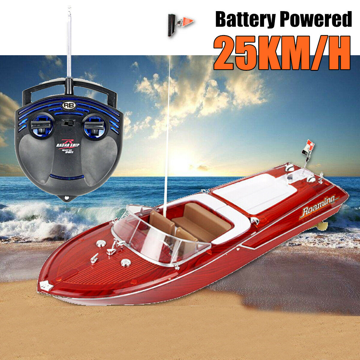 Lyxry RC Electric Yacht Style Ship High Speed Racing Remote Control Boat röd