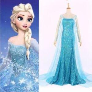 Image is loading Adult-Womens-Ladies-Princess-Elsa-Frozen-Snow-Queen-  sc 1 st  eBay & Adult Womens Ladies Princess Elsa Frozen Snow Queen Costume Dress ...